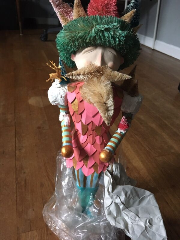 IMPERFECT Anthropologie Glitterville Whimsical King Snow Nutcracker Decor Statue