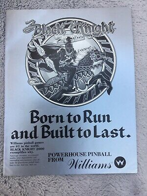 Black And White Black Knight 2000 pinball Machine flyer