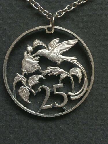 Jamaica Cut Coin Pendant Hummingbird