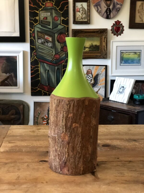 Hand Turned Solid Wood Flower Vase. One Of A Kind Rustic Wood Flower Vase