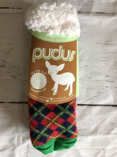Pudus Brand Slipper Socks Red LumberJack Jill One Size All A