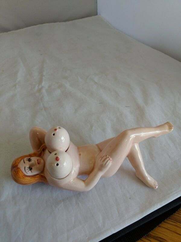 Vintage Naked Lady Boob Salt and Pepper Shakers 1950