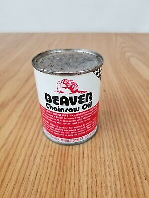 Vintage Beaver Chainsaw Motor Oil Can - graphic gas station auto store 2 cycle
