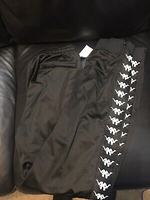 Black Kappa Men's Track Workout Pants Banda Kappa Logo Elastic Waist Size Large