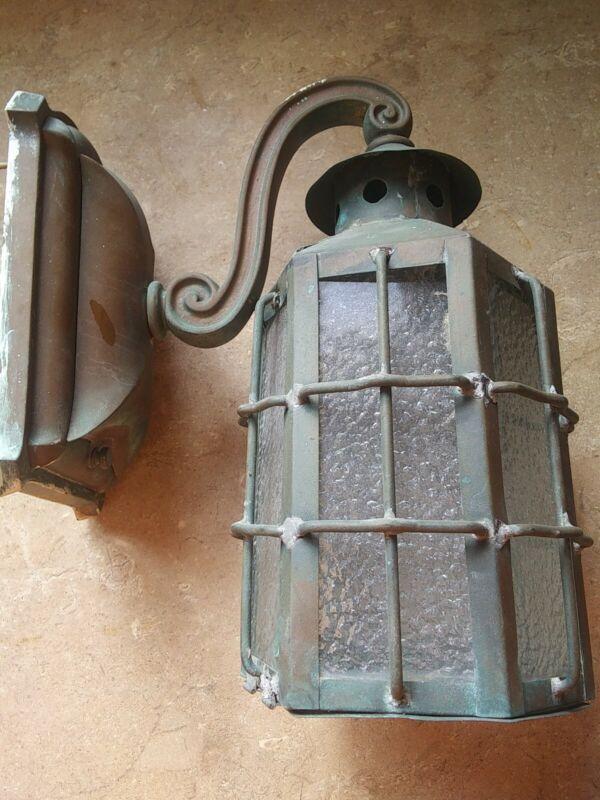 Vintage Arts Crafts Mission Style Copper Porch Light Sconce slagg glass 6 sides