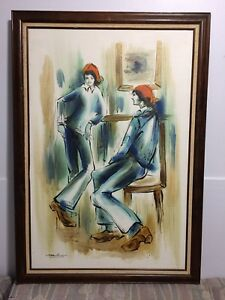 Framed Signed Original Acrylic Painting  'Two Figures in Blue'