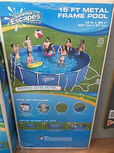 NEW SUMMER ESCAPES METAL FRAME POOL ABOVE GROUND 457cm x 91cm Springvale Greater Dandenong Preview