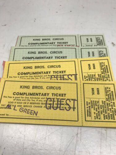 """VINTAGE KING BROS. COMP TICKET BOOKLETS """"GUEST"""" FROM M L  GREEN ABOUT 100 IN ALL"""