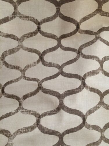 JOHN ROSSELLI Trellis Hand printed linen natural taupe knit backed Remnant New