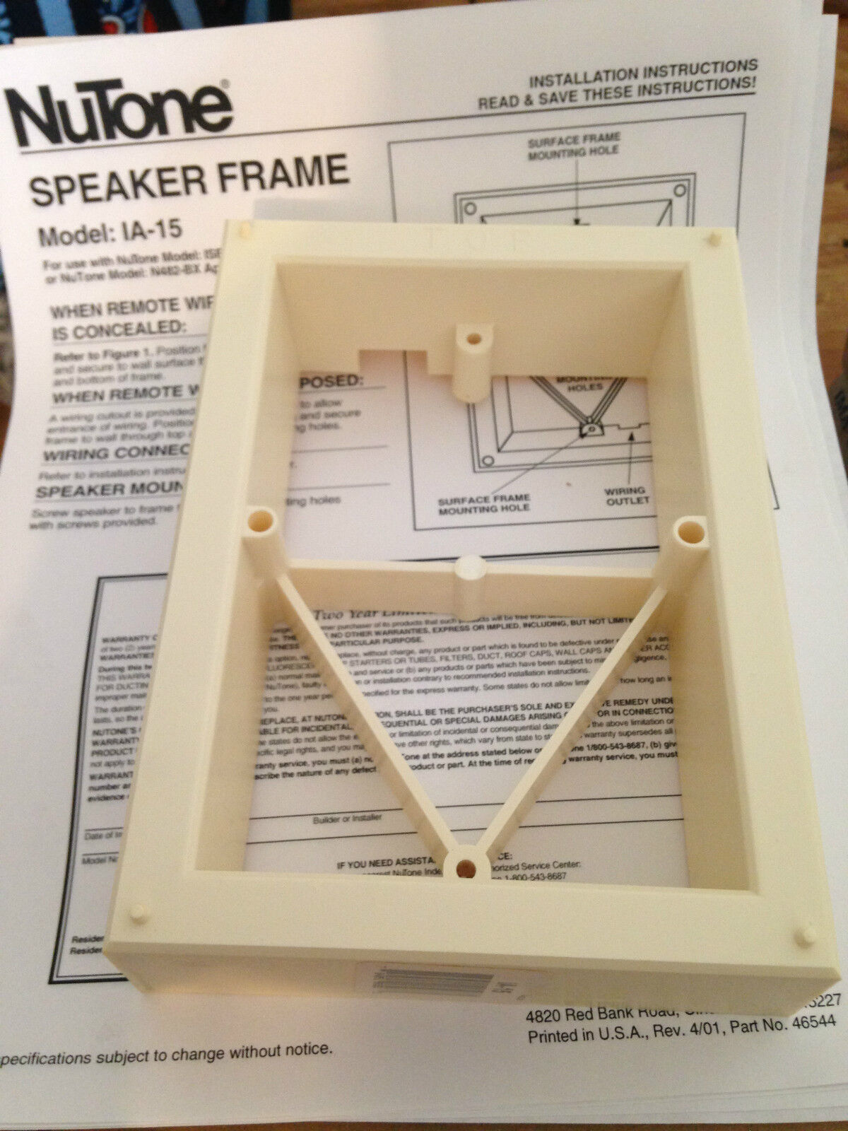 Nutone IA-15 Surface Mount Frame use with ISB-53 intercom speaker biscuit ia15L