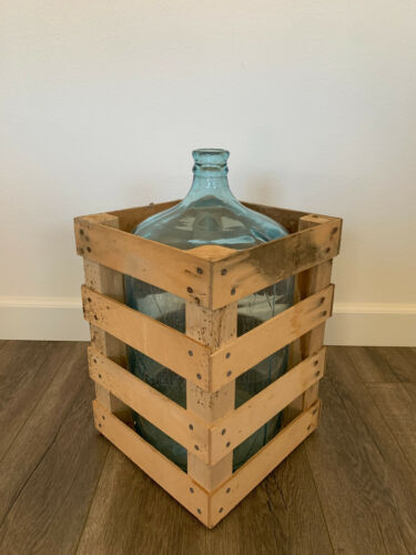 Vintage Silver Springs Water Carboy 5 Gallon Glass Jug & Crate #3