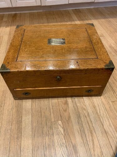 Antique quarter sawn oak silver chest coffee table Shreve & Co., San Francisco