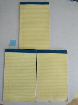 Legal Rule Writing Pads 8-12 X 13 Canary Yellow Paper Lot Of 3 - Set 2
