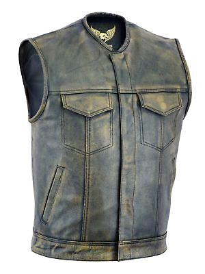 Men SOA Anarchy distress brown motorcycle biker Leather Vest with Gun Pockets (Mens Brown Vest)