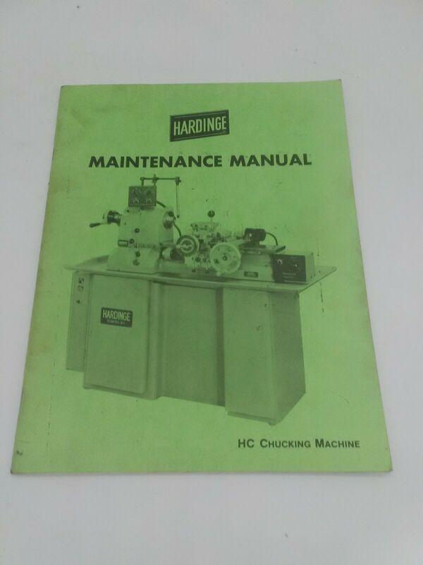 Hardinge HC Chucking Machine Maintenance Manual Original.