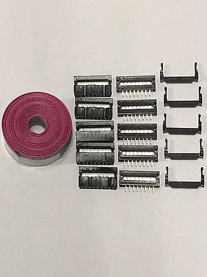 Flat Cable 16 Pins Connector 6ft Idc Ribbon 1.27mm Pitch 5 Sets Connectors