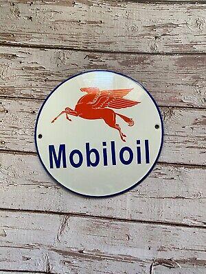"VINTAGE MOBILOIL RED MOBIL PEGASUS 6"" PORCELAIN METAL ENAMEL GAS & OIL AD SIGN!"