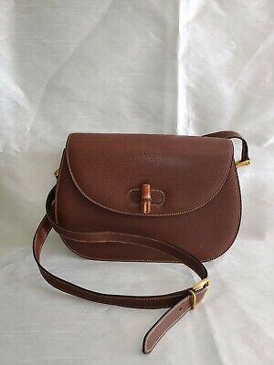 GUCCI Bamboo Line Cross Body Shoulder Bag Brown Leather Vintage