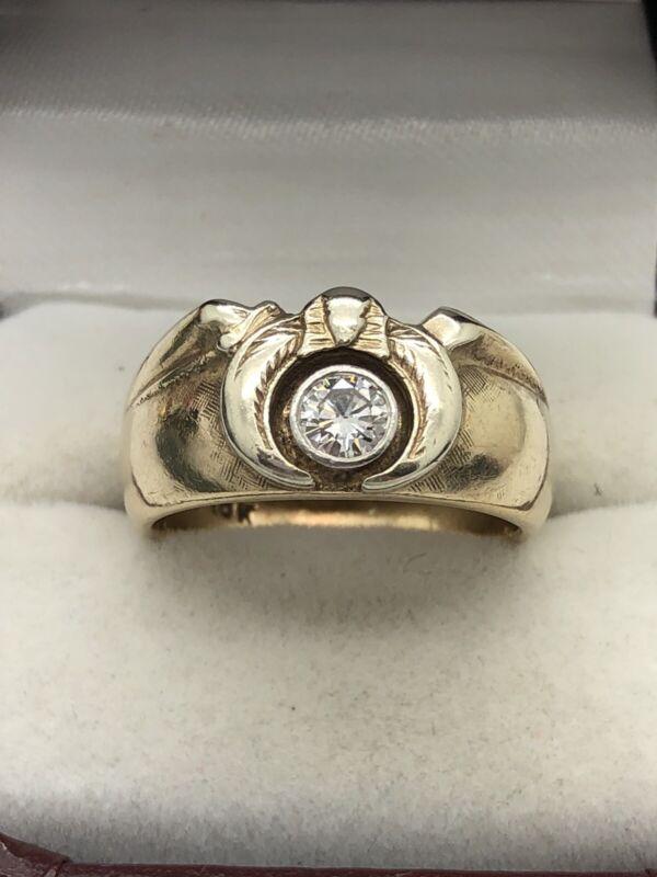 Vintage Masonic 10k Yellow Gold 1/3ct Diamond Eagle Mason Ring Size 9.5 Estate