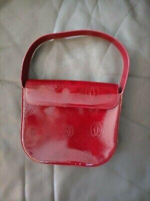 Cartier Logos Clutch Bag Burgundy Leather Purse Hand Bag Authentication Card
