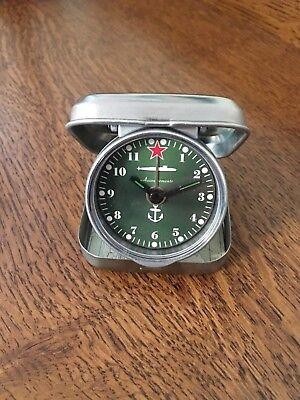 Russian Submarine Small Metal Folding Travel Alarm Clock