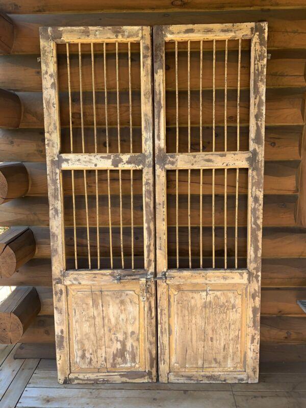 Antique Vintage Wooden Barred Cellar Doors