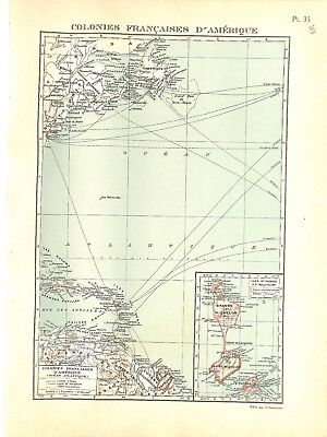 Colonial Empire French Colony French of America - Map Card Atlas 1937