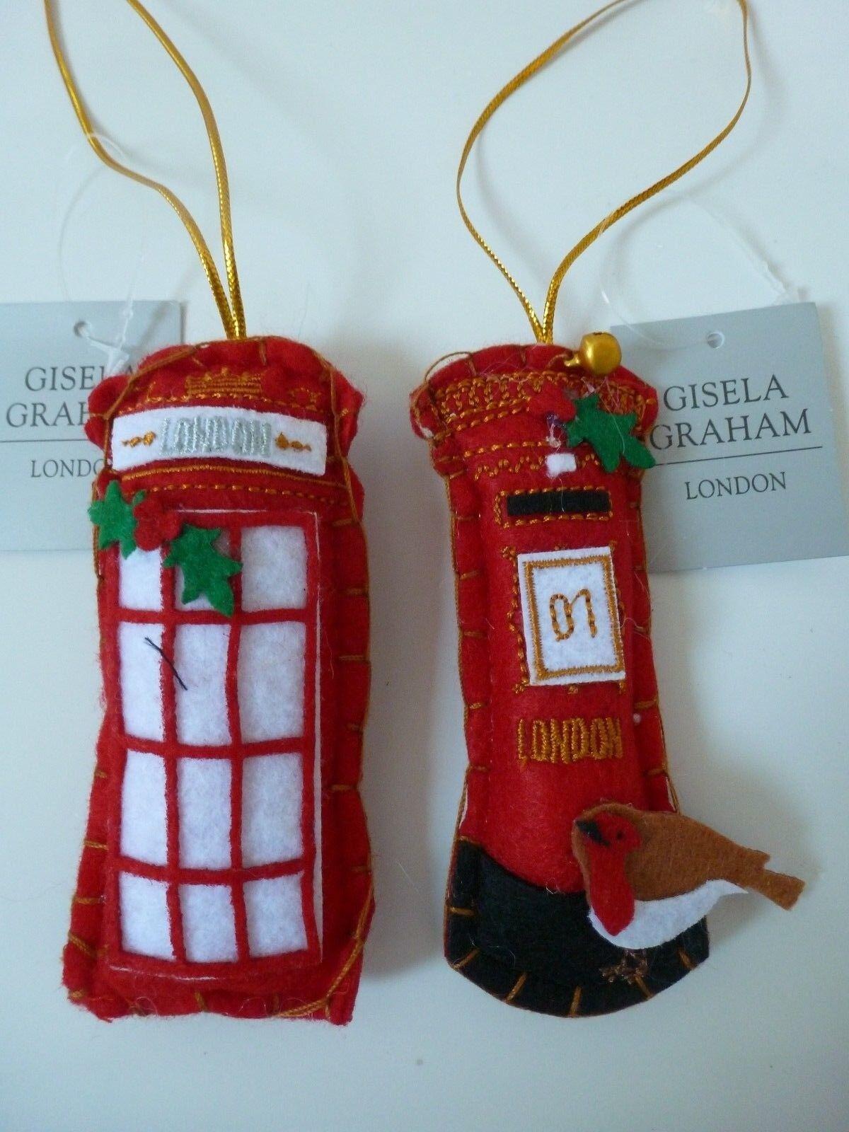 Gisela Graham Felt Telephone Box//Letterbox  Christmas Tree Decoration 11cm