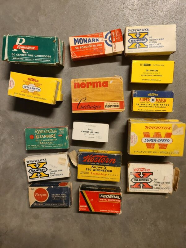 20 VINTAGE AMMO BOXES WITH SPENT BULLET CASINGS