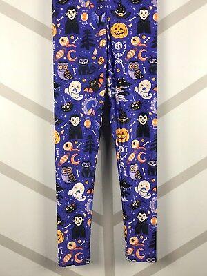Halloween Leggings S-XL Dracula Frankenstein Spiders Blue Bckgrnd - Halloween Leggings