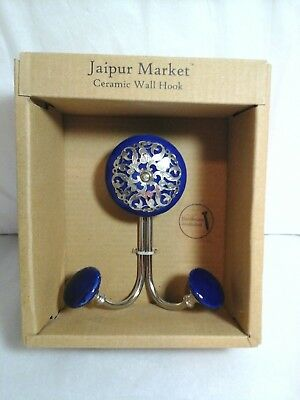 JAIPUR MARKET CERAMIC DOUBLE WALL HOOK~DARK BLUE for sale  Shipping to India