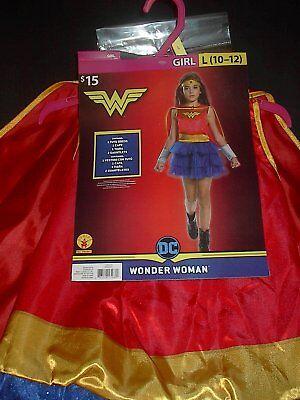 DC COMICS WONDER WOMAN GIRLS HALLOWEEN COSTUME SIZE LARGE 10-12  BRAND NEW