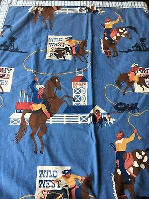 Fabric Western Cowboy /& Cowgirl Kids Roping the Horses on Green Flannel 1//4 yard