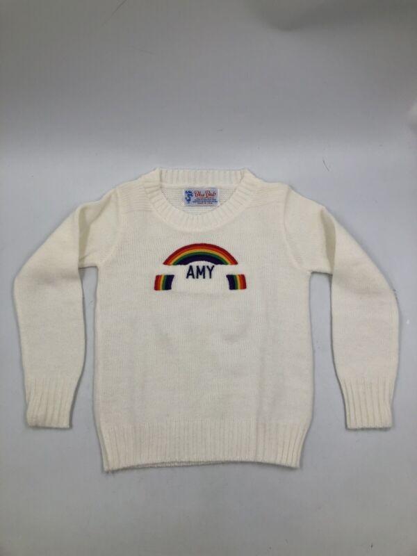 Vintage White 1960s Blue Bird Toddler 4T Girls Sweater ~ AMY ~ Rainbow ~ EUC