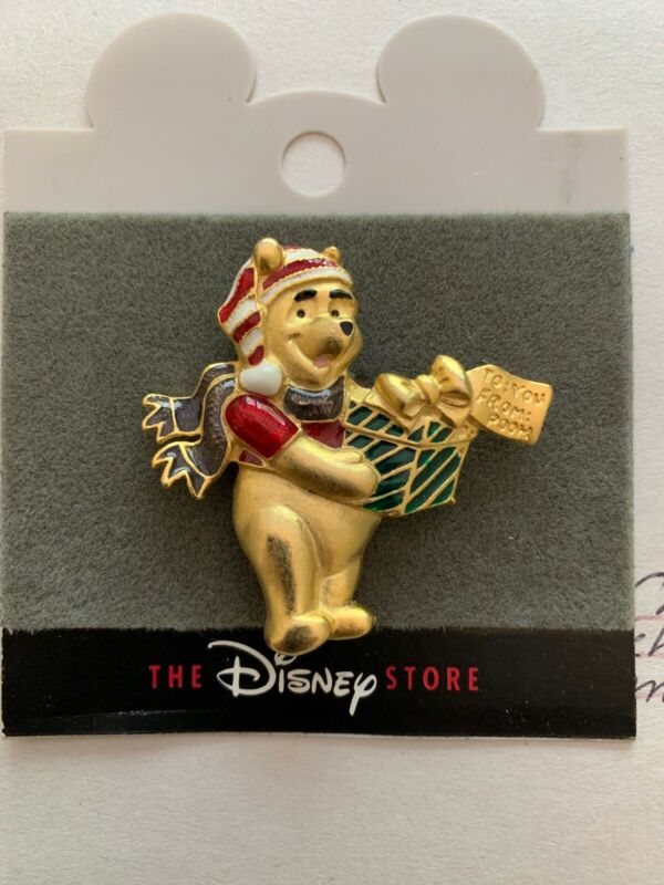 Disney Christmas Bear Brooch, Enameled.