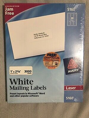 Avery White Mailing Labels For Laser Printers 1 X 2 58 Inch Box 3000 Labels