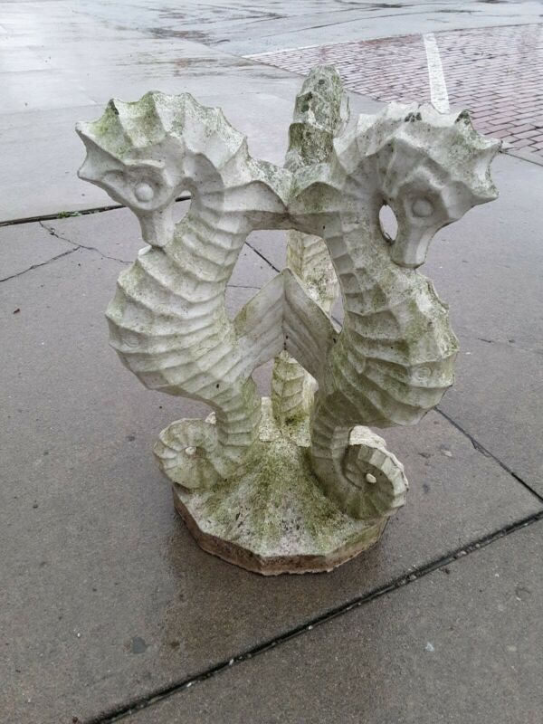 "Awesome SEAHORSES Vintage CEMENT CONCRETE BIRDBATH BASE 27"" Tall bird bath"