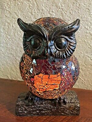 MOSAIC STAINED GLASS CRACKLE STYLE OWL LAMP/NIGHT LIGHT