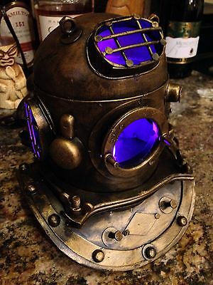 Replica Mark V Metal Divers Helmet Nautical COLOR CHANGING Lamp - Tiki Bar Decor