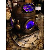 Replica Mark V Metal Divers Helmet Nautical COLOR CHANGING Lamp - Tiki Bar Decor