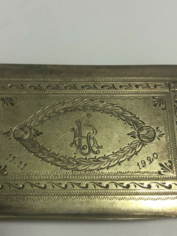 Vintage 800 Silver 65g Cigarette Case Engraved With Date 11.11.1920 & Monogram