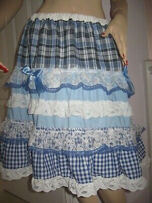 Adult Baby blue gypsy tiered skirt Check linen lace Summer One size Festival UK