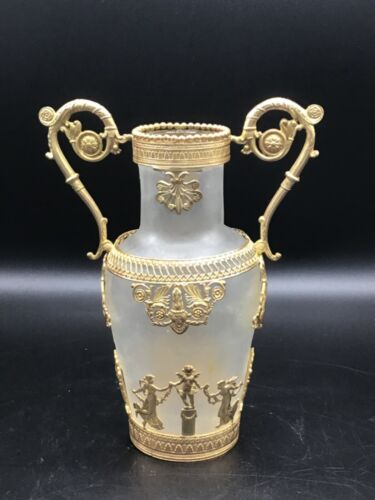 Beautiful French Neo classical Gilt brass mounted frosted glass vase