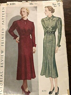 VINTAGE PICTORIAL REVIEW PRINTED LADIES DRESS PATTERNS, SIZE 20, NO. 8391