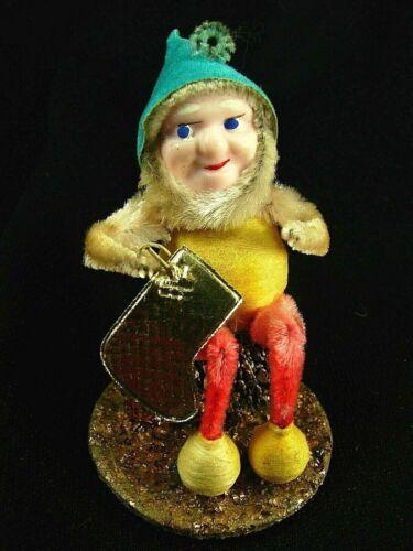 Antique Pinecone Elf w Stocking - Yellow, Aqua, Red -1930s-50s JAPAN - Excellent