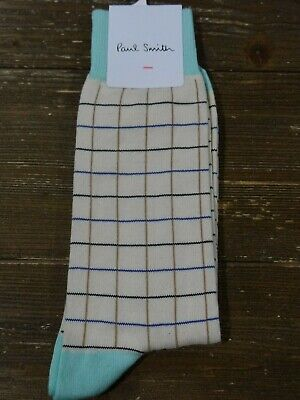 NWT Paul Smith Mens Mid Calf Beige Grid Pattern Socks Italy $30 Nordstrom Grids Pattern Cotton Blends