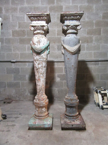 ~ AMAZING PAIR OF ANTIQUE CAST IRON COLUMNS ~ 75.25 TALL ~ ARCHITECTURAL SALVAGE