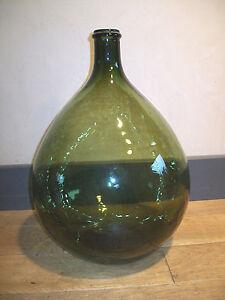 ancien grand bonbonne verre souffl moul vert 15 l litres dame jeanne. Black Bedroom Furniture Sets. Home Design Ideas