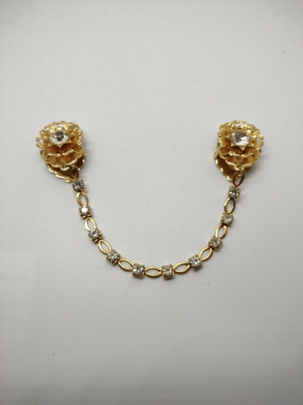Vintage Jewelry Gold Tone Sweate Clip Flowers Rhinestone Pat Pend. 1943