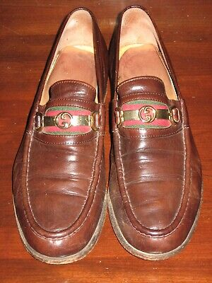 Vintage Authentic GUCCI Glove Brown Leather Loafers with GG Gold Buckle Size 9